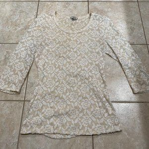 BKE Cream and White Lace Top